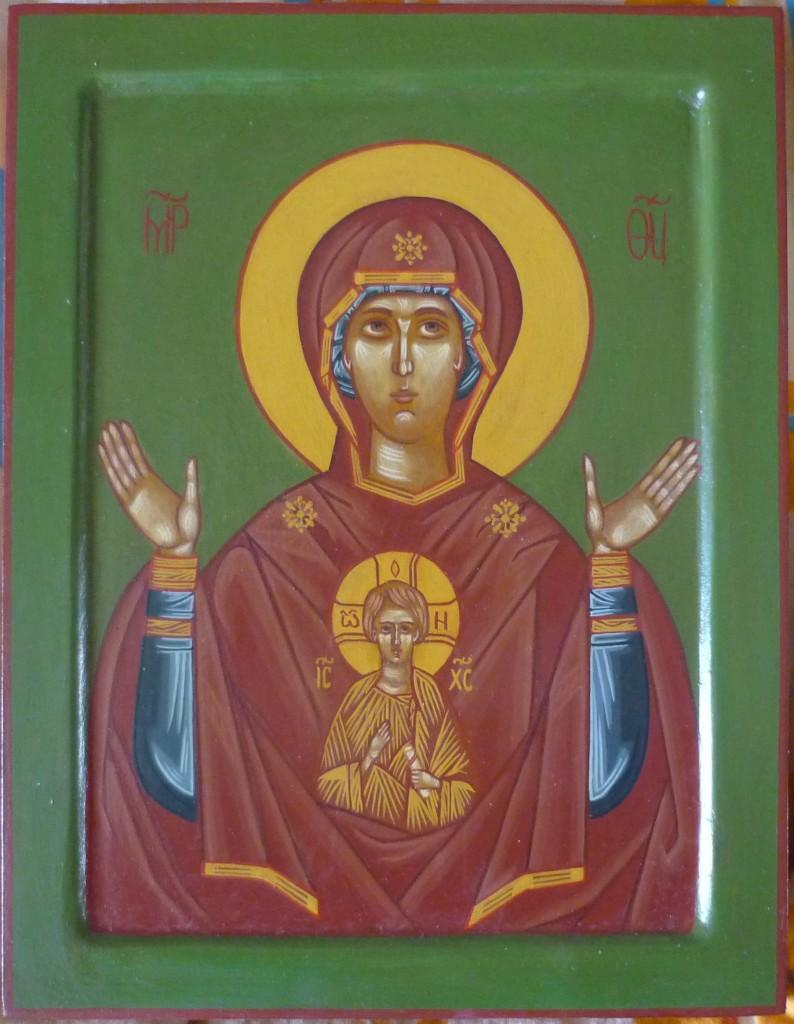 икона Божьей Матери «Знамение»,  размер 21,5 на 27,5 см.